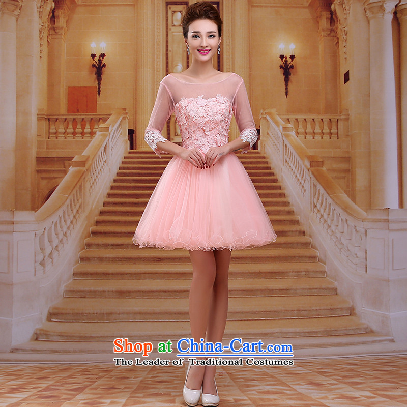 Tim red makeup bridesmaids winter Annual Dinner of the marriages bows short skirt wedding dress 2015 New Sleeves lace bridal dresses dinner LF001 pink�XL