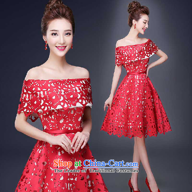 Small Red Dress bows services fall 2015 new marriages betrothal services video thin short, banquet evening dresses RED M