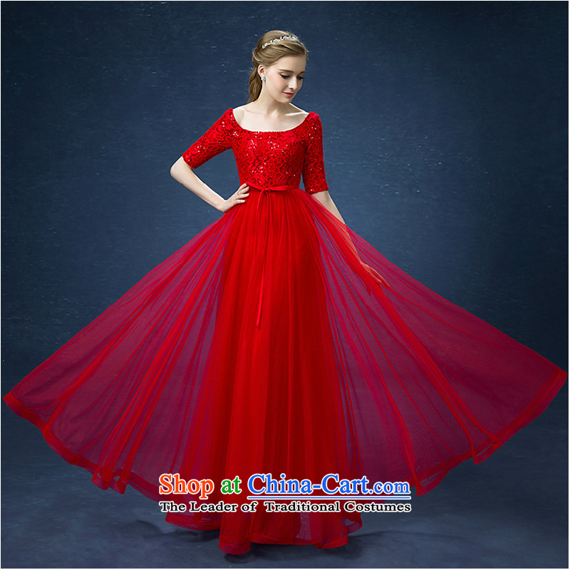 Pure Love bamboo yarn marriages Annual Dinner of the bows services show moderator long wedding dresses?597 short, Red Dress red long?L