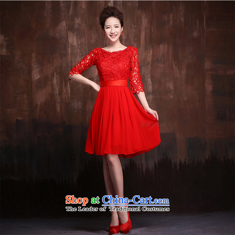 The following new paragraph on 2015 wedding dresses lace stylish large short of pregnant women bride bows services 7 short-sleeved red)?L