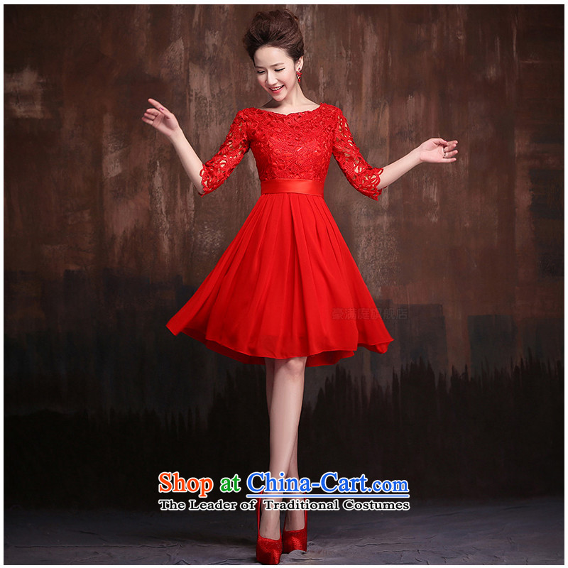 The following new paragraph on 2015 wedding dresses lace stylish large short of pregnant women bride bows to red short-sleeved short, not returning to size contact customer service