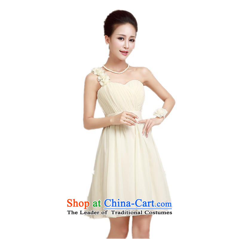 Fourth quarter 2015 new dress ultra-small Beveled Shoulder God fairies dress chiffon Foutune of short wedding dress bridesmaid evening dress skirts and sisters annual skirt short skirt champagne color codes?85-115 per capita burden