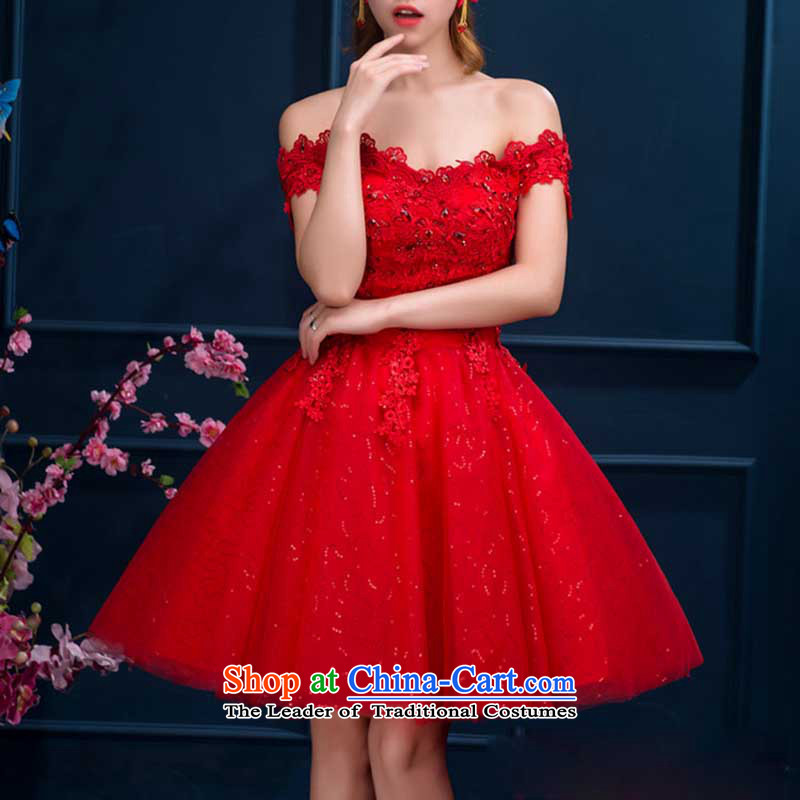 Bon Bon skirt short, Bridal Suite White bridesmaid one field shoulder marriage bows to party banquets small red dress made no refund is not shifting