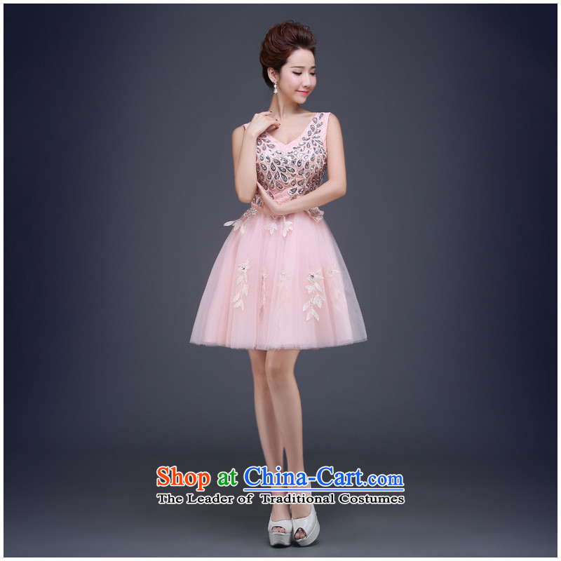 On the risk of Evening Dress Short bridesmaid services 2015 new lace diamond shoulders bride services gathering dinner drink dress light pink?XXL