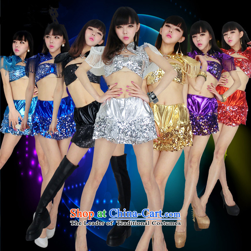 The 2015 New sexy on chip stage costumes Three Piece Steel Pipe dance nights in singer bar singer sexy dance clothing will stage costumes DS female silver?XL