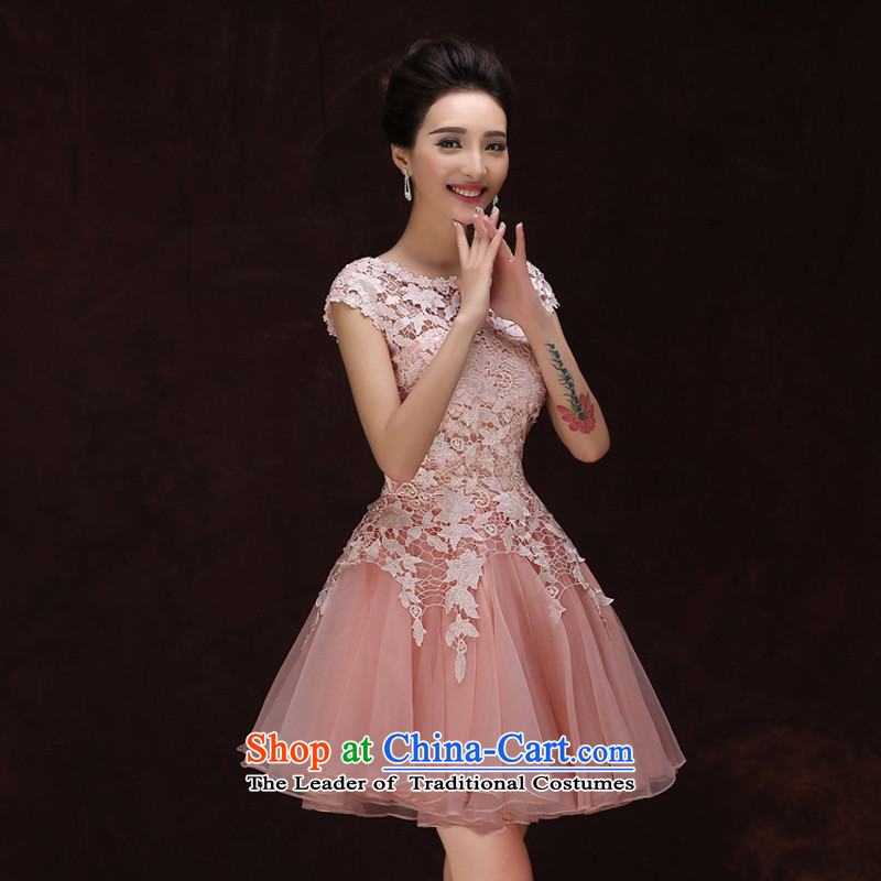 Pure Love bamboo yarn upscale 2015 Hepburn style shoulder bows marriage bridesmaid bridal dresses lace small luxury dress pale pink tailored please contact Customer Service