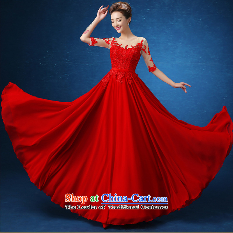 On the following evening dresses 2015 autumn and winter new HANGZHOU CHAISHI IMP long red marriages bows in cuff banquet video thin red?S