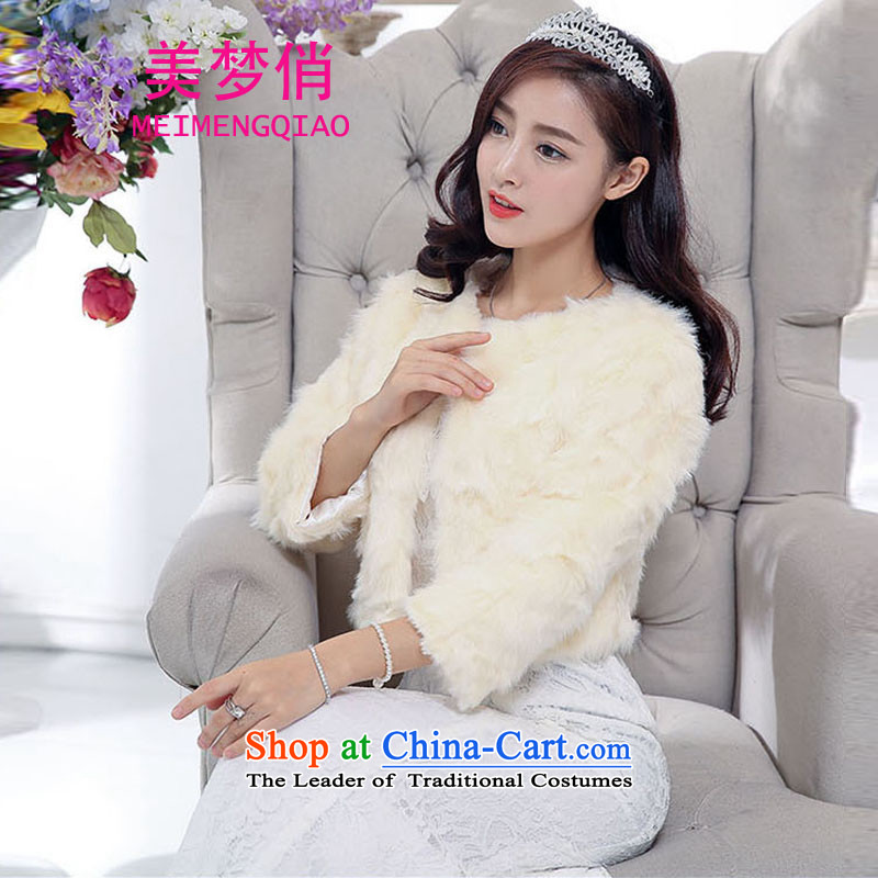 For the 2015 autumn and winter dream with Korean Sau San Video Foutune of thin temperament and sexy emulation gross shawl dress skirt wedding dress evening dresses kit dress female white L