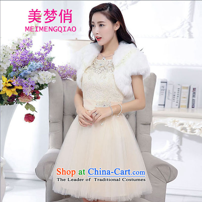 For the 2015 autumn and winter dreams of Korean Sau San video thin foutune temperament and sexy emulation gross shawl dress skirt wedding dress evening dresses kit dress girl S m White
