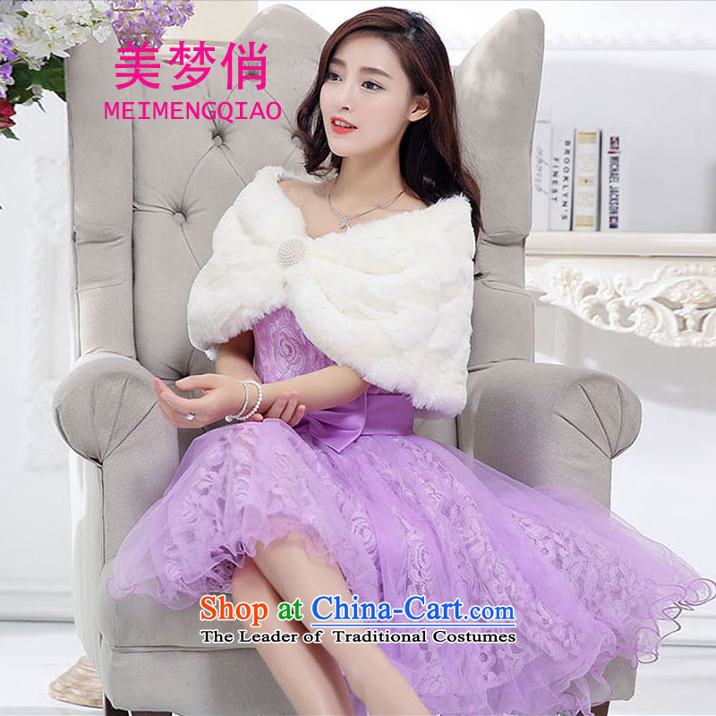 For the�2015 autumn and winter dream with Korean Sau San Video Foutune of thin temperament and sexy emulation gross shawl dress skirt wedding dress evening dresses kit dress with purple Red Shawl Female�M