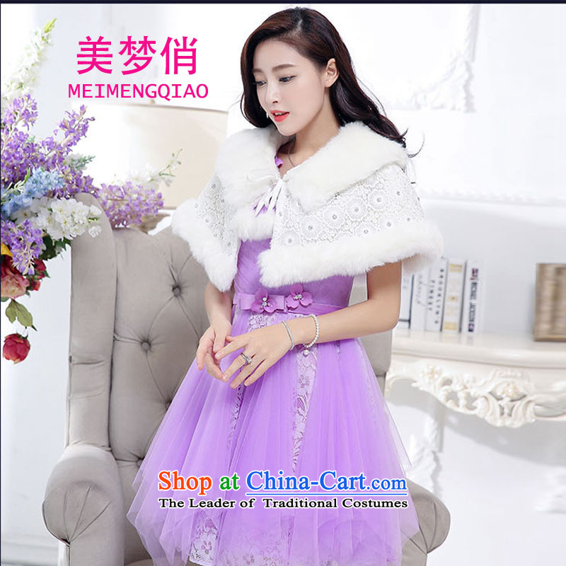 For the2015 autumn and winter dream with Korean Sau San Video Foutune of thin temperament and sexy emulation gross shawl dress skirt wedding dress evening dresses kit dress female purpleS