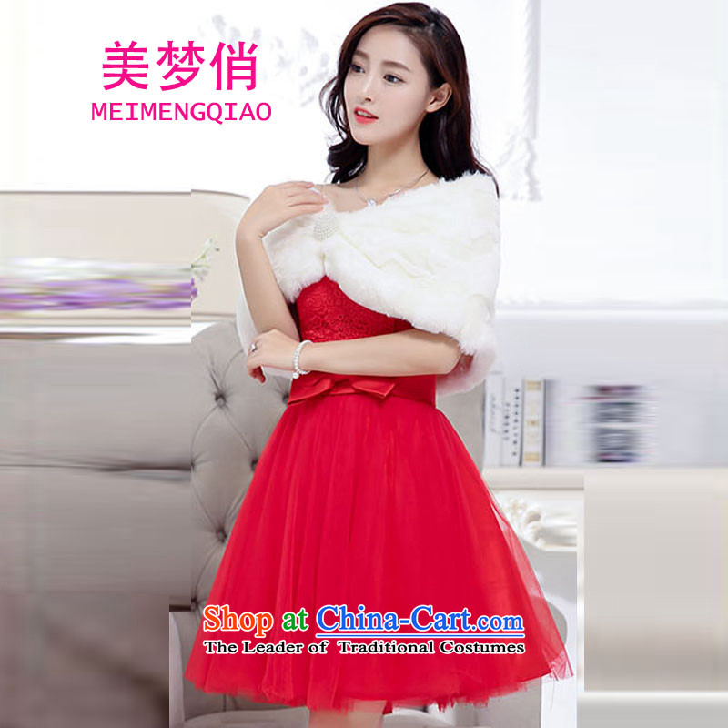 For the?2015 autumn and winter dream with Korean Sau San Video Foutune of thin temperament and sexy emulation gross shawl dress skirt wedding dress evening dresses kit dress female red?L