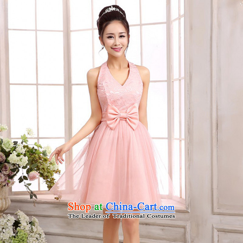 C.o.d. Korean elegance deep V-neck and sexy back small wedding dresses skirt sister bridesmaid mission small ladies dress long annual lace dresses pink short skirts are code