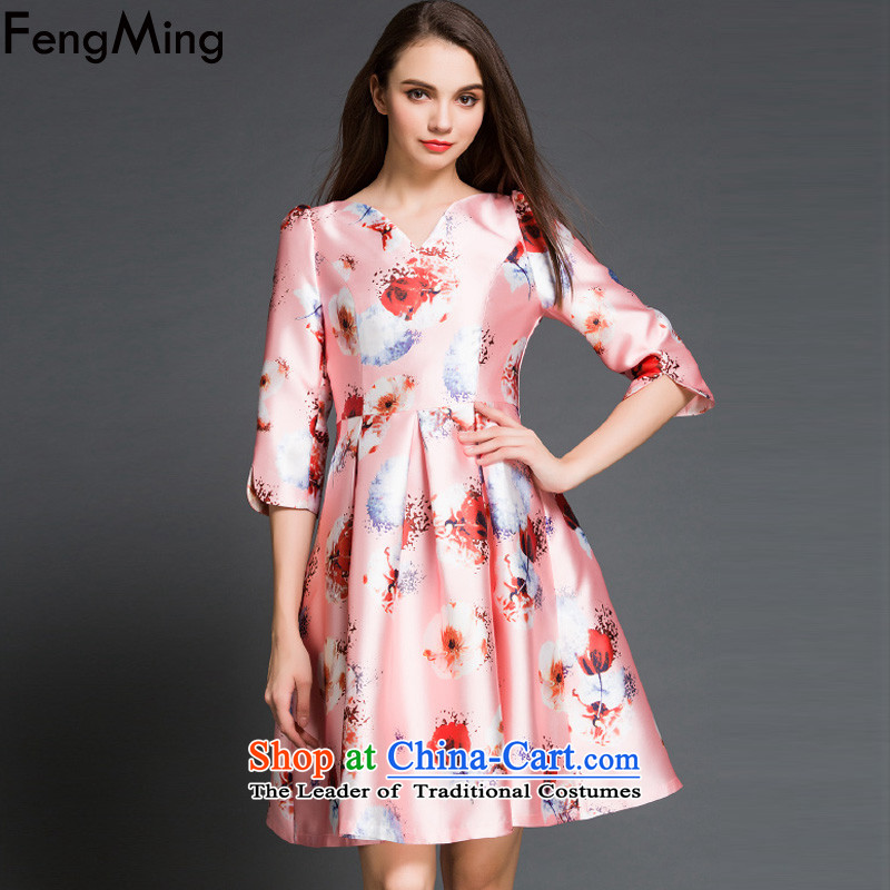 Hsbc Holdings plc ming long-sleeved dresses?2015 European site new lady stamp Top Loin dress PETTICOAT field princess bon bon skirt pink?XL