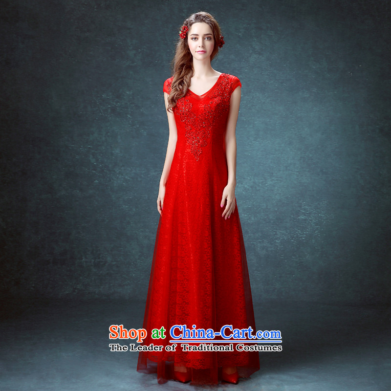 Each�new 2015 Connie red double-shoulder dress bride bows services�V-Neck cheongsam dress a Go: Bind Field manually set pearl shoulder evening dresses red tailored does not allow