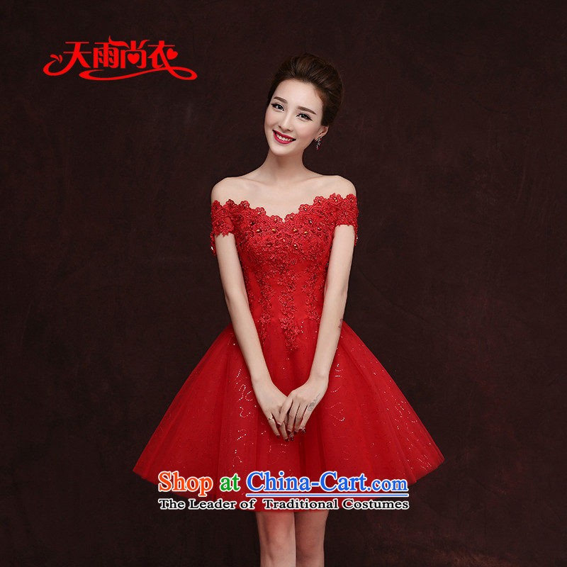 Rain-sang yi 2015 autumn and winter new Korean short of a wedding field shoulder red video thin diamond evening dresses marriages LF186 RED�XXL toasting champagne services