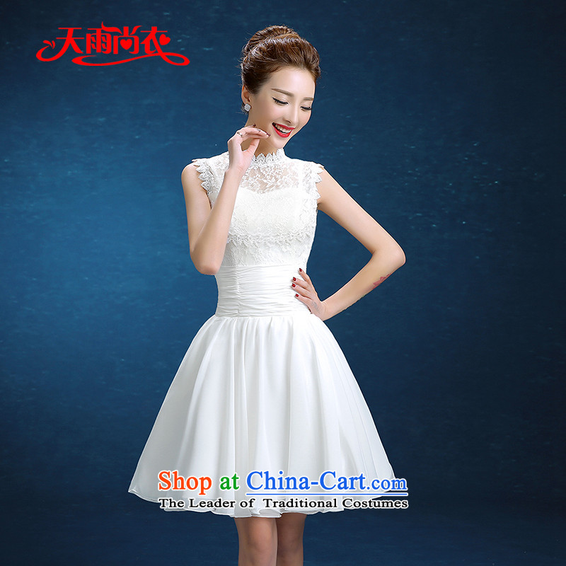 Rain-sang yi 2015 winter new Korean version of Word short shoulder lace white video thin bridesmaid evening dress marriages LF234 Services White�XXL toasting champagne