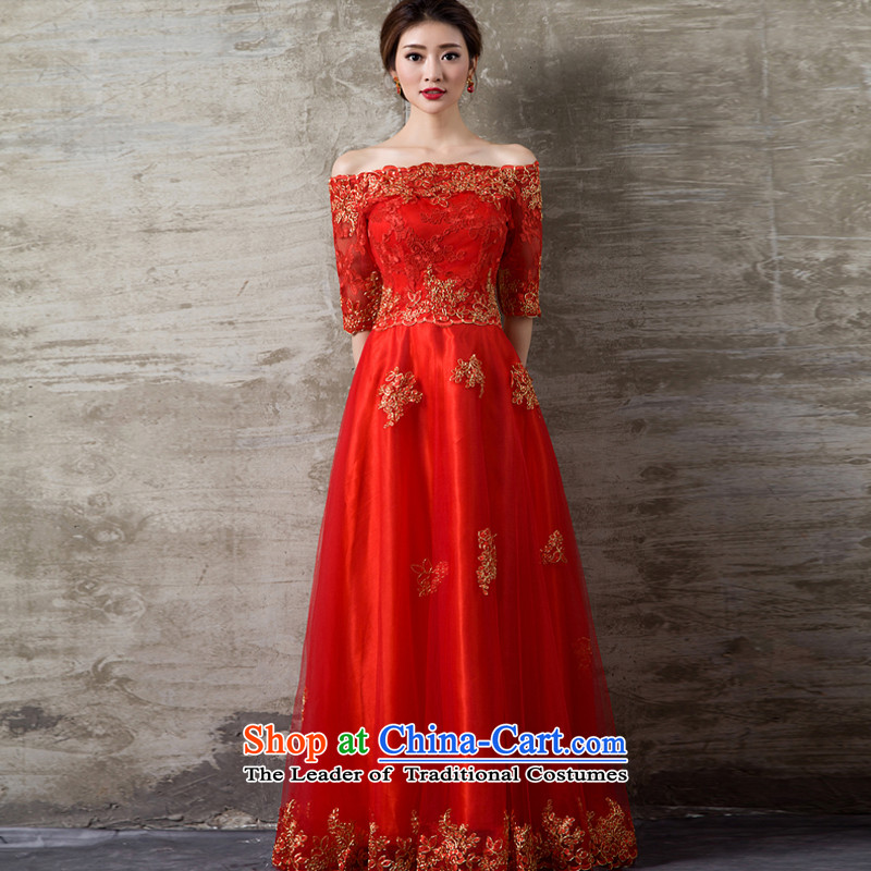 Pure Love bamboo yarn upscale luxury embroidery in Word cuff shoulder length of Dress Short of dress bridal dresses bridesmaid performances evening dresses annual dress bon bon skirt dress red long L