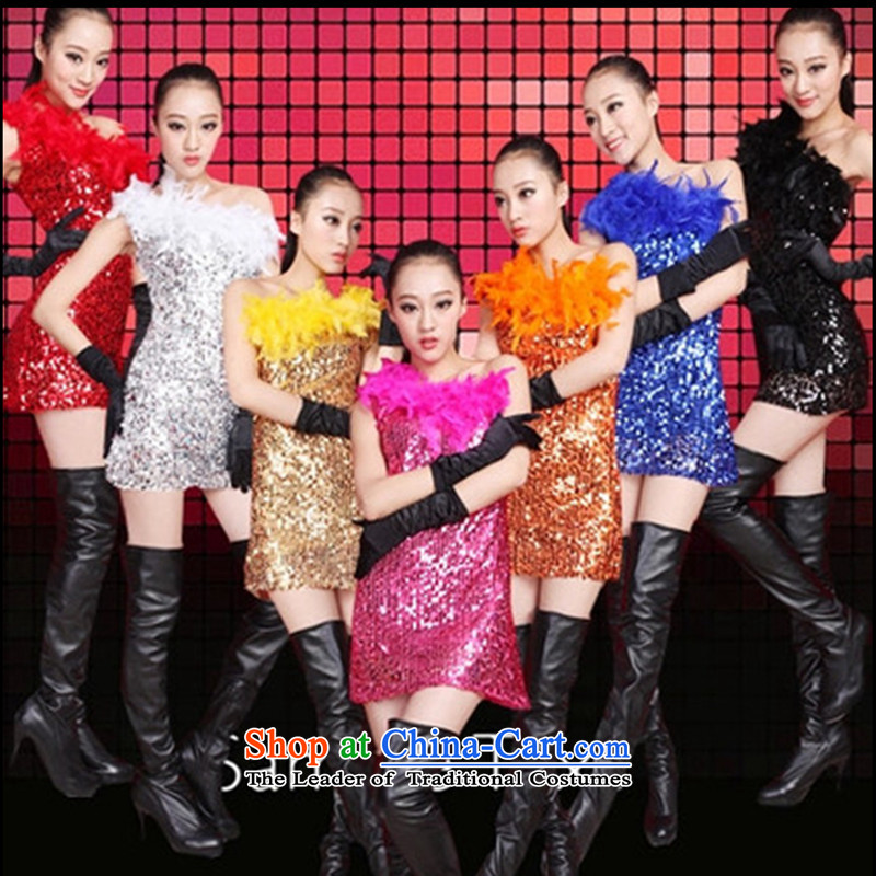 The 2015 new on-chip sexy nobody shoulder car models on chip DS performances Singer Stage dance services services package and Sau San dresses female white gloves are Code +