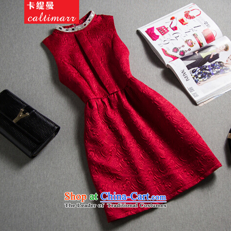 Card economy�by 2015 Fall/Winter Collections of new western bridesmaid skirt small Heung-hm jacquard forming the OL dress skirt dresses package and thick Cayman Red�S