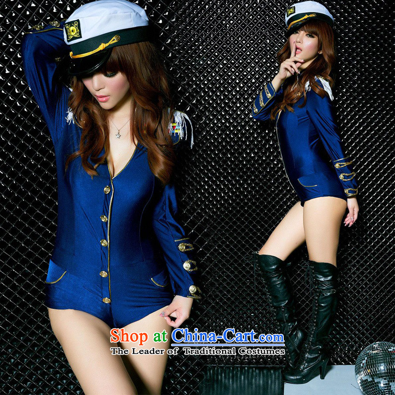 The new 2015 autumn and winter in long navy western nightclubs bar ds will replace the navy sexy female police uniforms temptation dance singer in serving Yi Blue + hat?L