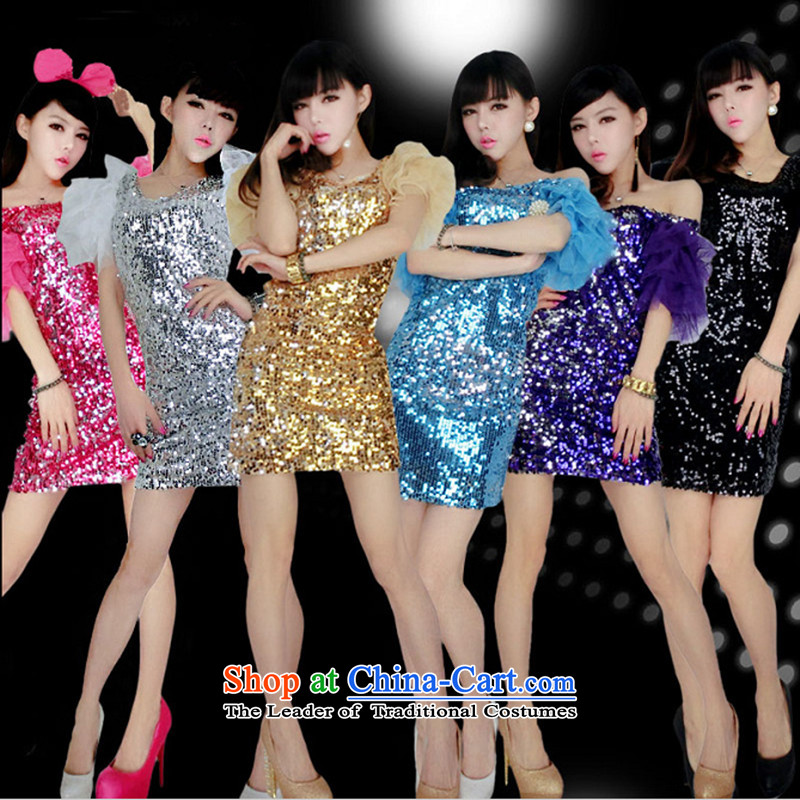 The 2015 new on-chip sexy dresses DS stage costumes and stylish singer night show apparel sexy female modern bright chip dresses show services will dance Purple