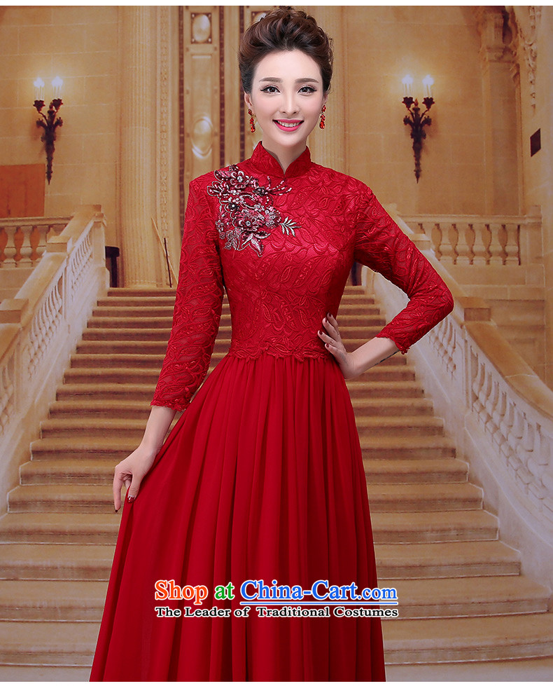 Tim hates makeup and improved version of qipao wine red dress long bride bows services wedding
