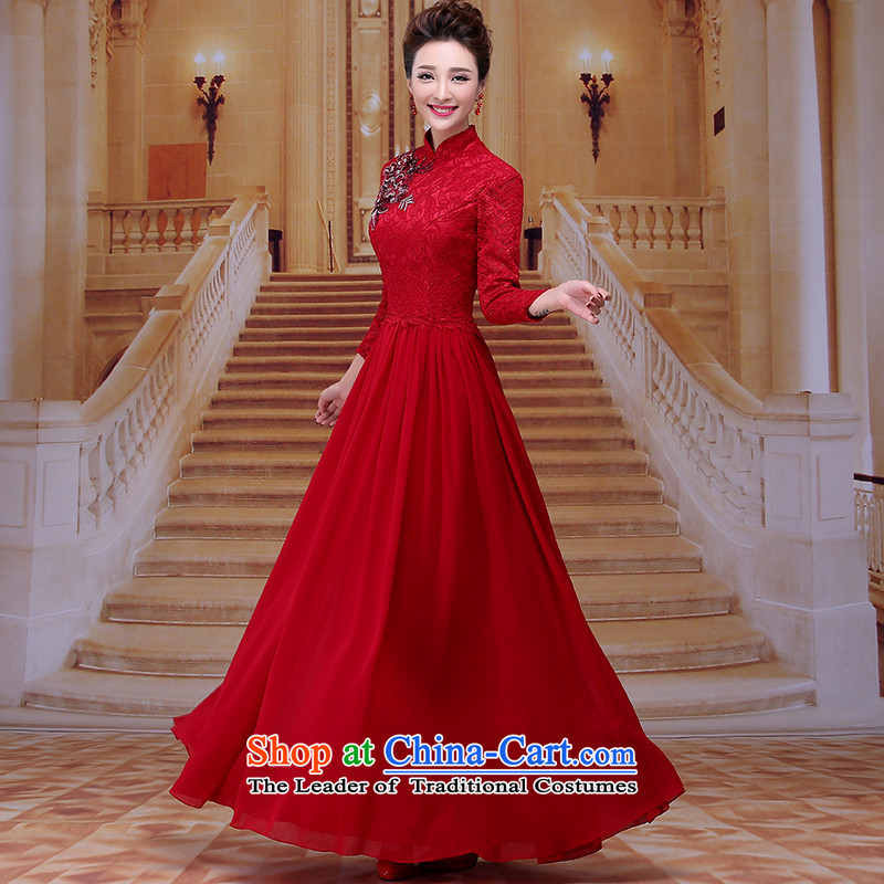 Tim hates makeup and improved version of qipao wine red dress long bride bows services wedding dresses mother boxed dinner dress winter LF005 bride deep red tailored does not allow