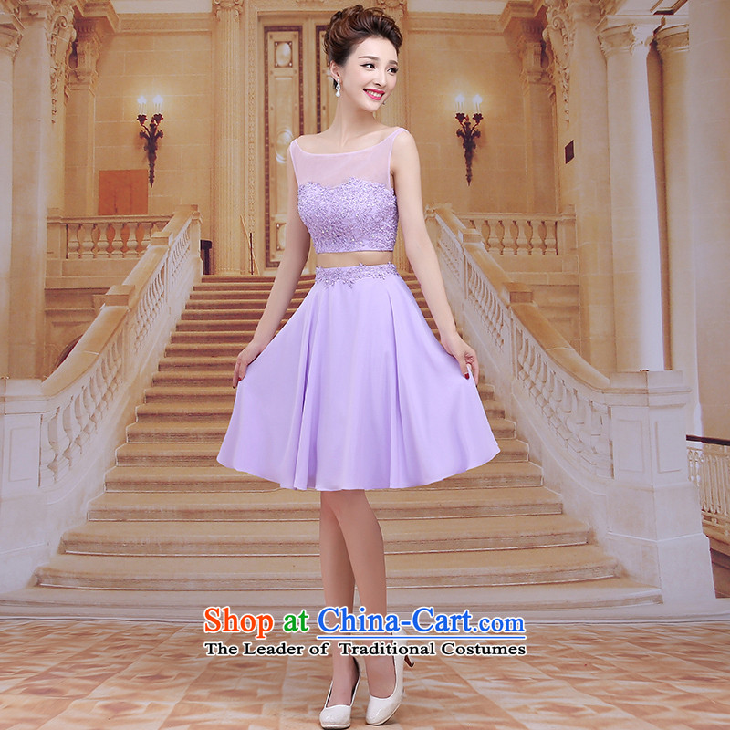Tim red makeup bridesmaids Annual Dinner of the marriages bows short skirt wedding dress 2015 new sexy short skirts bridal dresses evening dresses LF004 light purple tailored does not allow