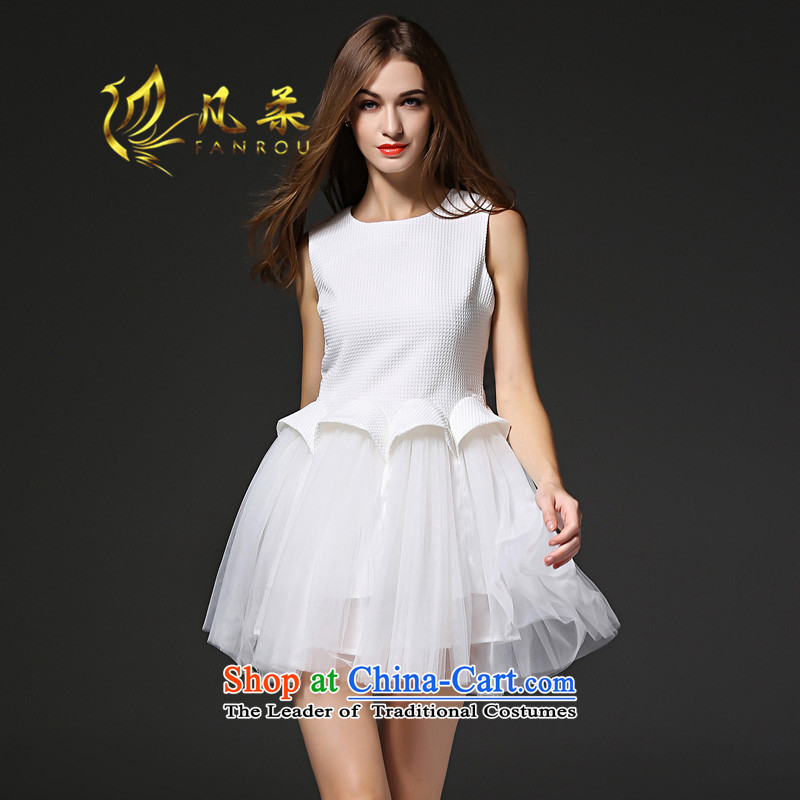 Where Sophie female banquet evening dresses 2015 autumn and winter new madame bows and the relatively short time of service bridesmaid sister married skirt small service dress white�L