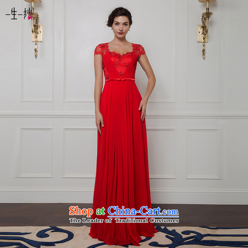 2015 new red packets to align the shoulder higher waist brides under the auspices of the annual dinner dress bows long skirt 402401369170_94A red thirtieth day pre-sale