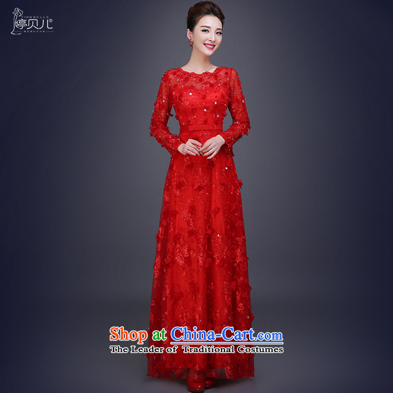 Beverly Ting bows Service Bridal Fashion new autumn 2015 Red Winter wedding dress female betrothal evening dresses long red L