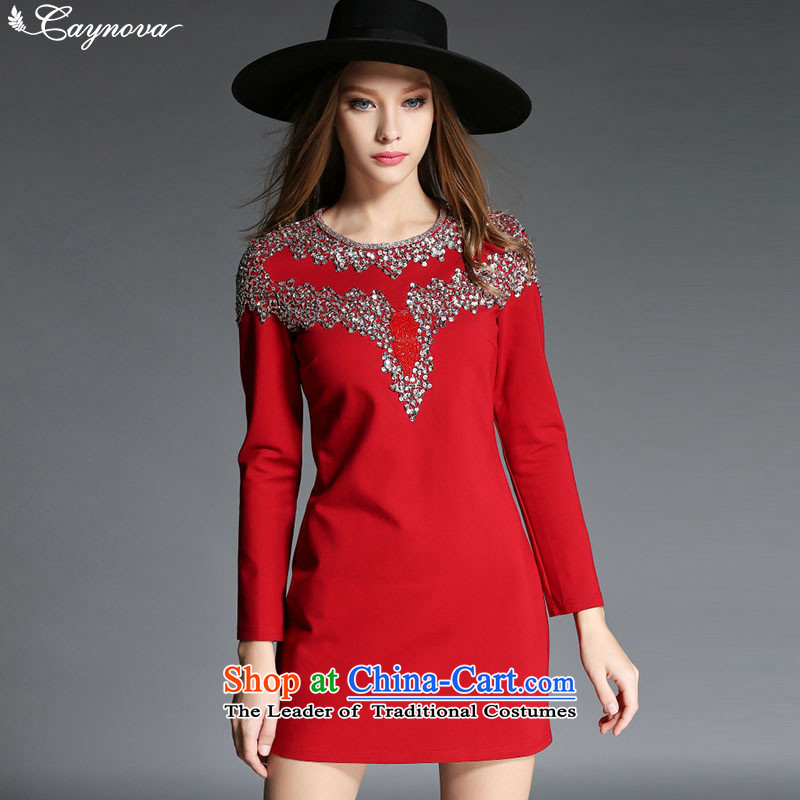Caynova2015 autumn and winter new stylish heavy industry manually set the Pearl River Delta Sau San round-neck collar video thin red dress�S