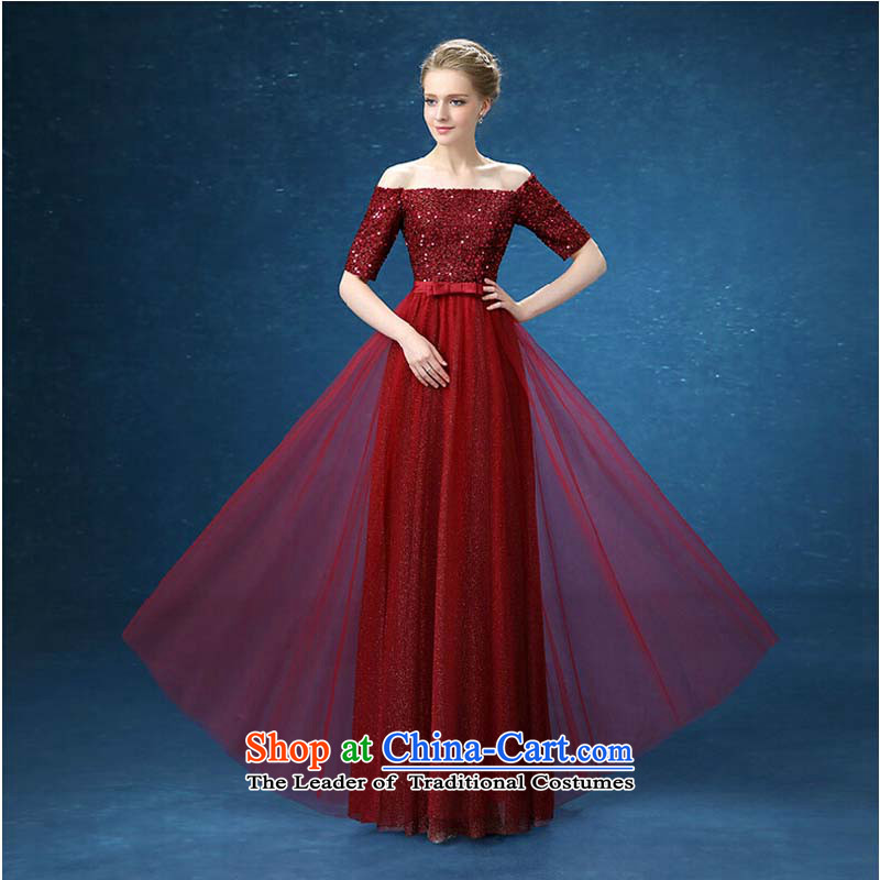 Wine red slotted shoulder marriages bows Services Chairman of wedding dresses 2015 winter from 7,692 new dark red tailored please contact Customer Service