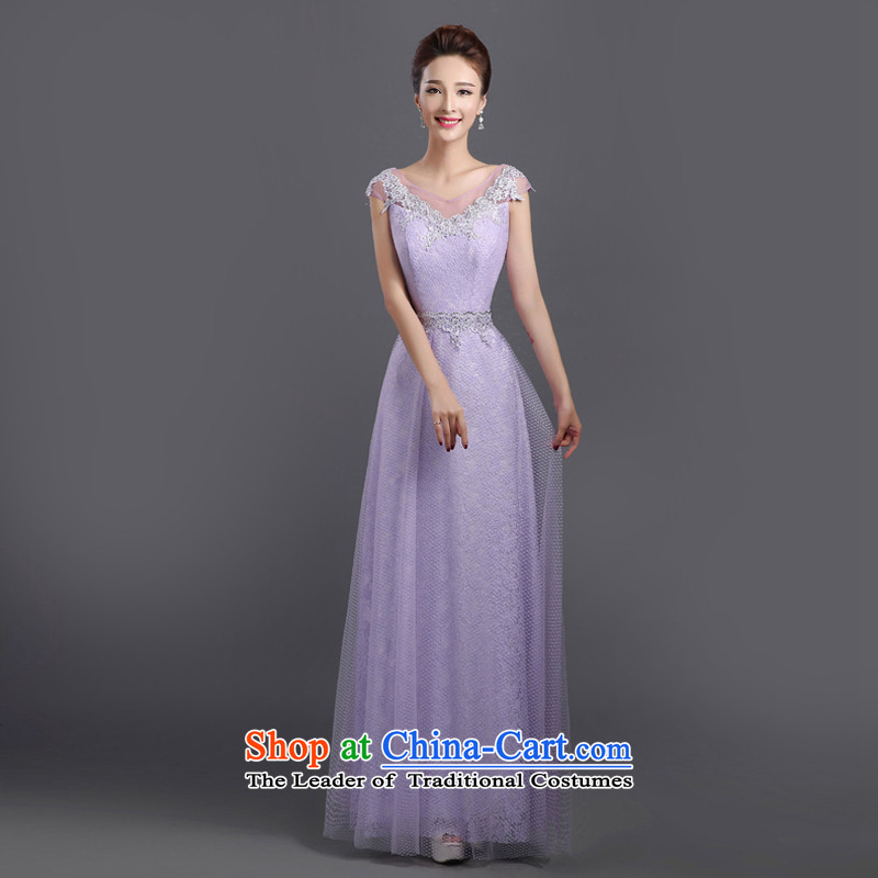 2015 new evening dresses long gown chorus of the persons chairing the dress female choral service long skirt costumes female light purple?m