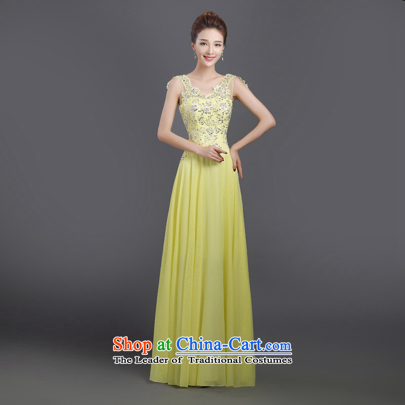 Bridesmaid dress 2015 new long banquet will bridesmaid service, bows to dress summer light yellow s