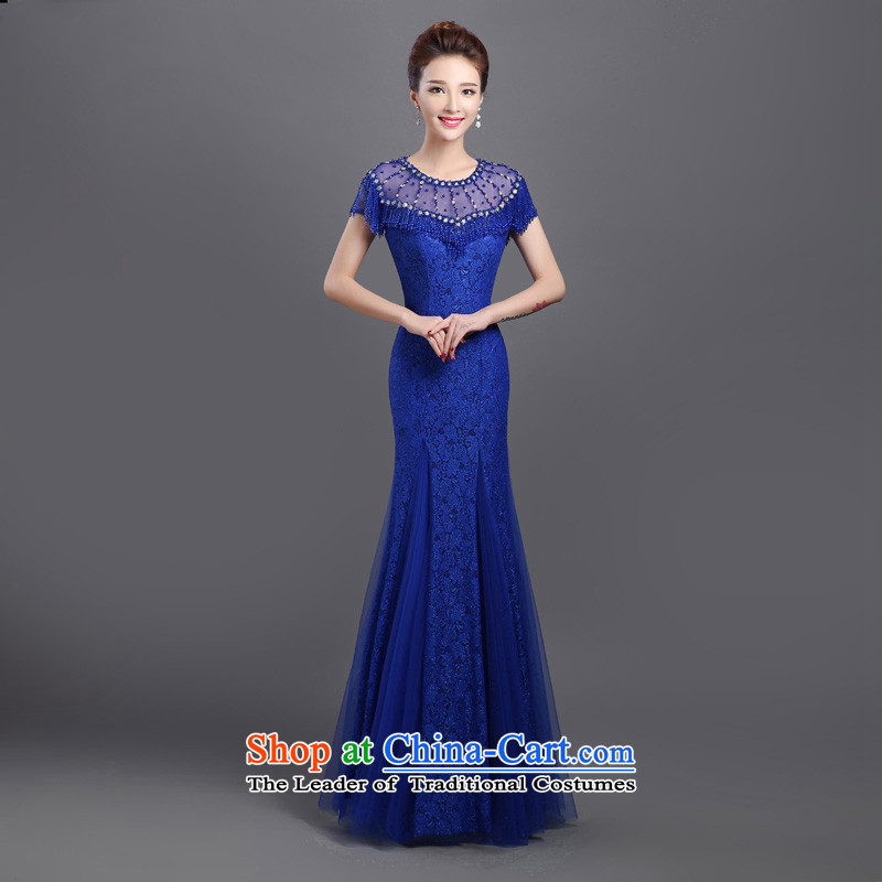 2015 new evening dresses, banquet dinner dress skirt autumn wedding wedding dresses long load mother large blue�s