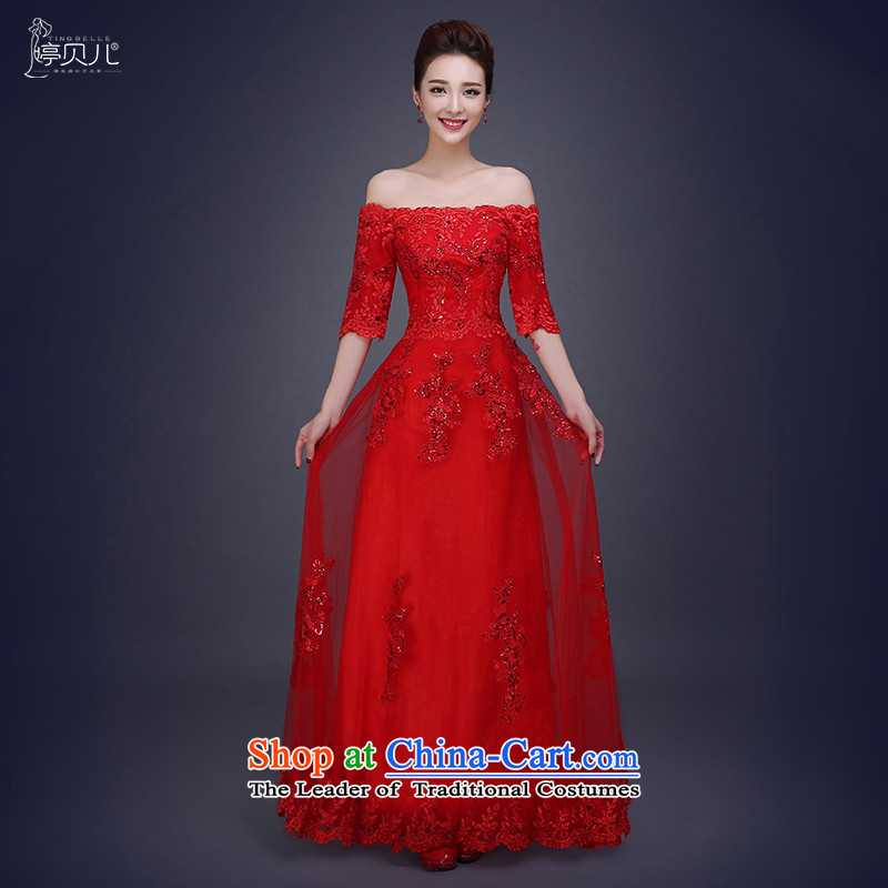 Beverly Ting bride bows services 2015 new autumn long word wedding dress shoulder Red Dress Winter Female Sau San Red�XXL