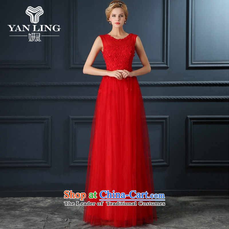Red petals bride respectfully annual dinner serving drink marriage show moderator long wedding dresses booking pearl red L