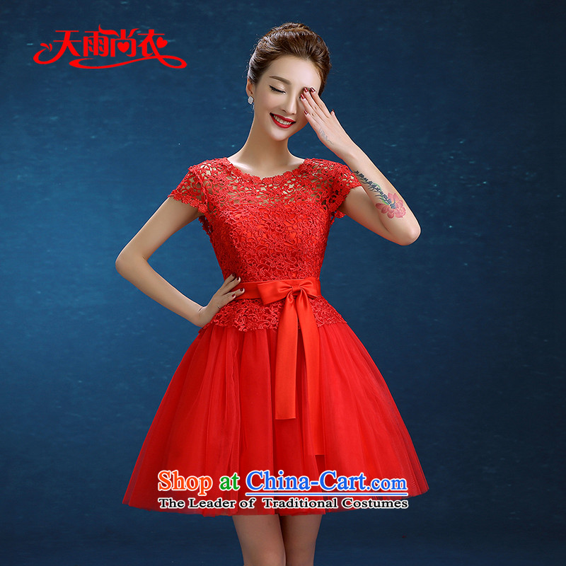 Rain-sang yi�2015 married women with new Wedding Dress Short of bows larger lace video thin red bridesmaid small dress LF233 RED�XXL