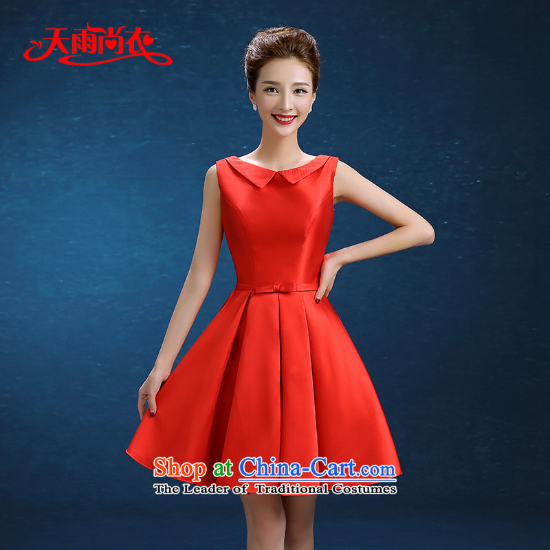 Rain-sang yi 2015 married women with new Wedding Dress Short of a field shoulder red bridesmaid small dress uniform LF232 bows red?XL