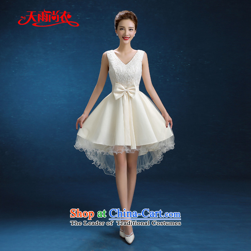 Rain-sang yi?2015 winter wedding new wedding shoulders Korean bridesmaid short of large white code graphics thin married women dress LF235 small pictures transmitted color?L