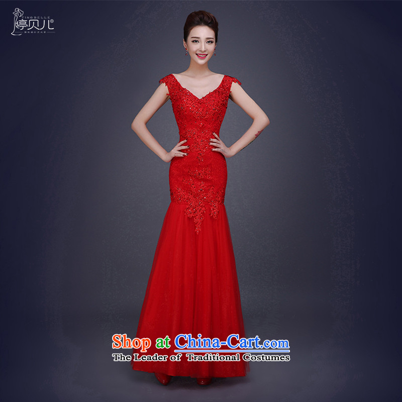 Beverly Ting 2015 new stylish v-neck wedding dress female Red Red Dress Sau San�L