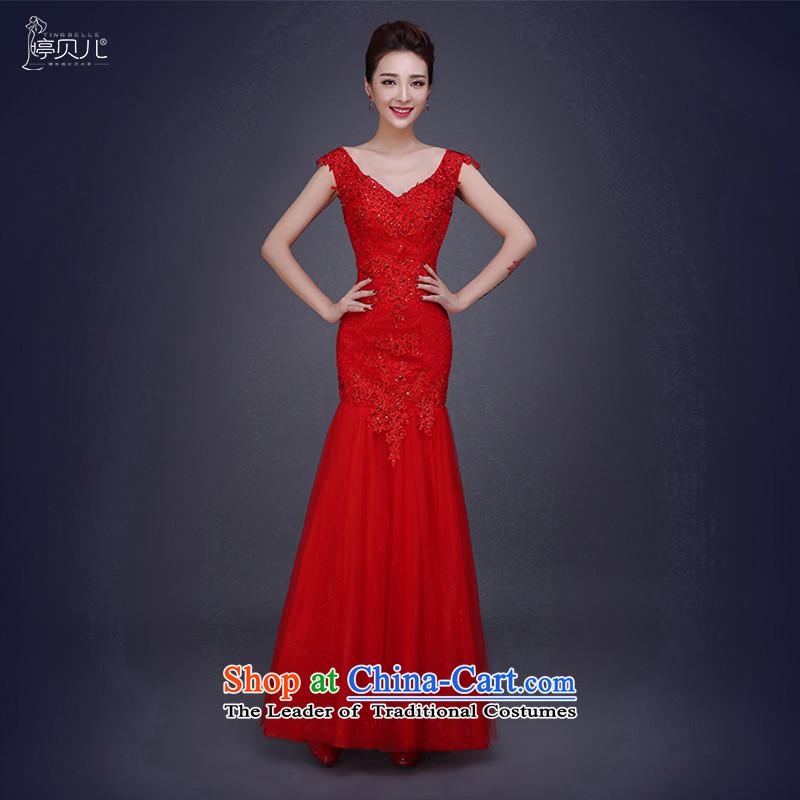 Beverly Ting 2015 new stylish v-neck wedding dress female Red Red Dress Sau SanL