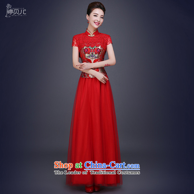 Beverly Ting 2015 new winter Chinese Antique Wedding Red Wedding Dress Short-sleeved red聽XL