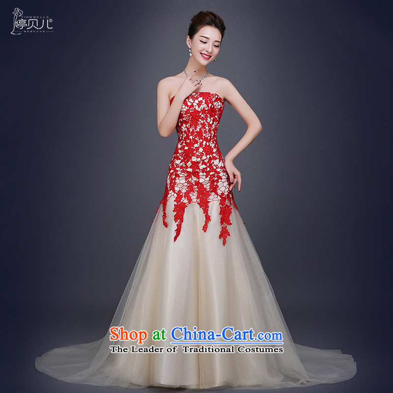 Beverly Ting 2015 new bride crowsfoot bows services and chest small trailing wedding wedding dress moderator banquet evening dresses red?XL