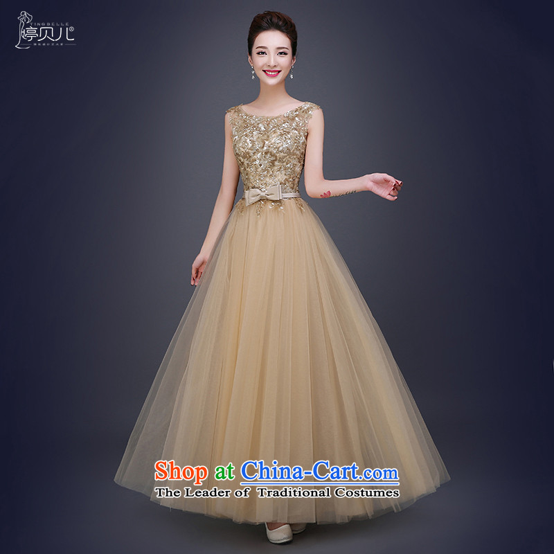 Beverly Ting 2015 New Sau San Golden Ballroom evening dresses moderator female long) Wedding dress of autumn and winter gold S