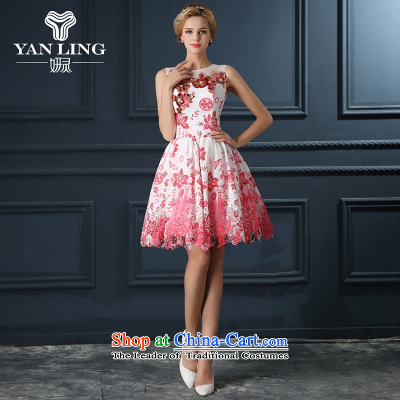 Wedding dresses short of a new summer, marriage Sau San video thin package shoulder aristocratic banquet bows evening dresses bon bon skirt watermelon red XL