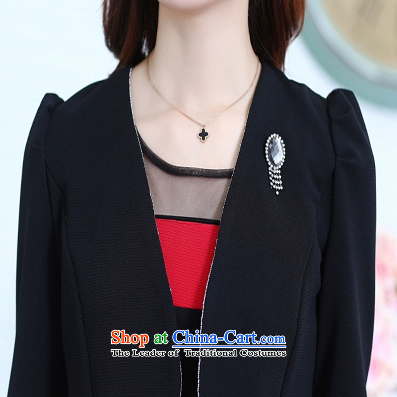 The United States and Dr. Chou 2015 Autumn two kits dresses sweet long-sleeved gown shawl kit small black?L