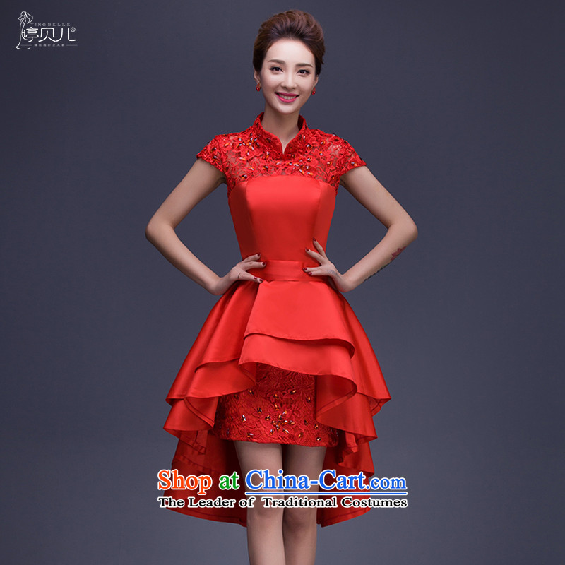 Beverly Ting 2015 before the new bride long after the short winter clothing bows wedding dress female betrothal small dress autumn stylish Diamond red聽L